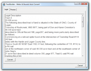 Metes & Bounds Auto-Convert Screenshot
